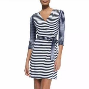 Diane Von Furstenberg Julian Wrap Dress striped 12